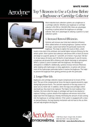 Top 5 reasons to place GPC infront of baghouse or cartridge filter